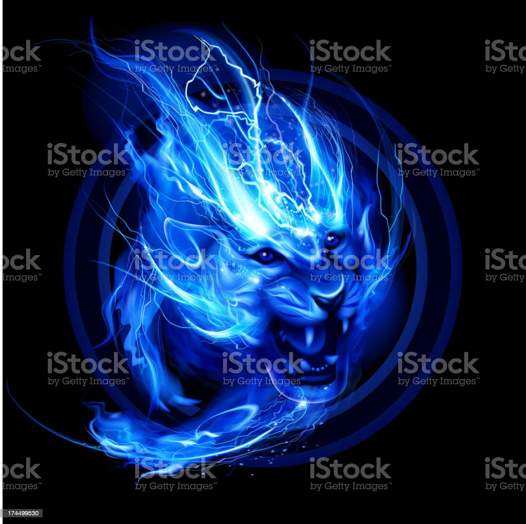 Running lightning lion vector art illustration