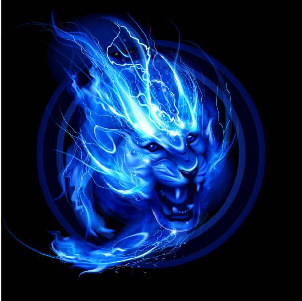 Running lightning lion vector art illustration