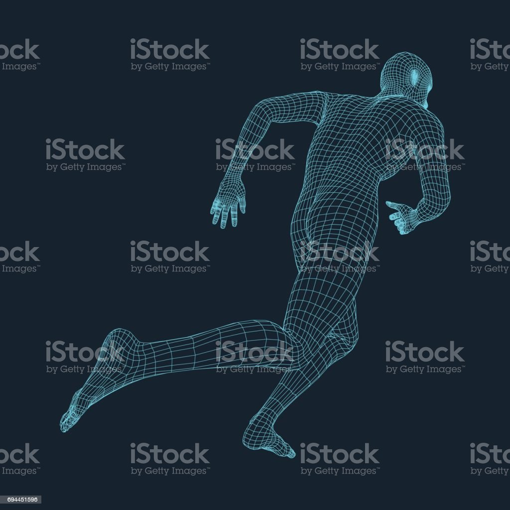 Running Man. 3D Model of Man. Business and Technology Vector illustration. vector art illustration