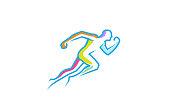 Running Man abstract Fitness Body Logo Design Illustration