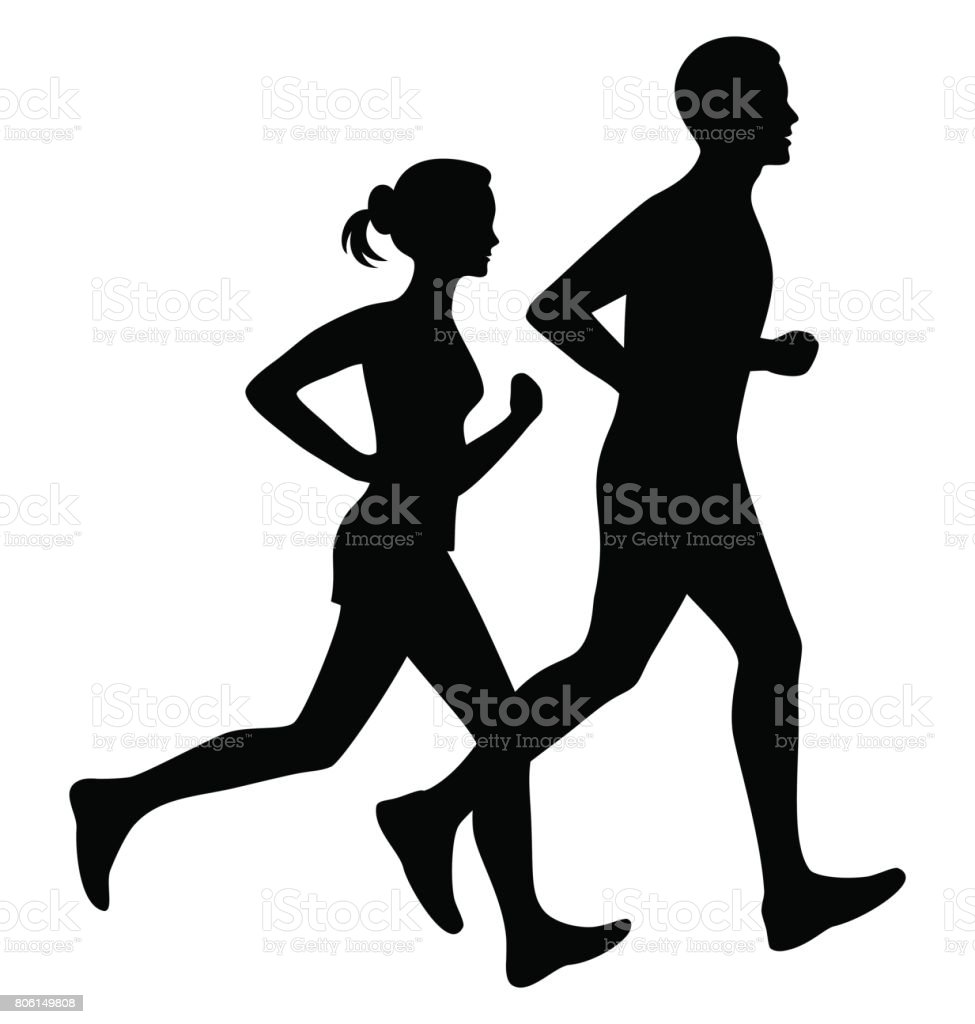 Running man and woman black silhouette isolated vector illustration. vector art illustration