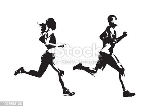 istock Running man and woman, ink drawings, isolated vector silhouettes. Run, side view 1091658106