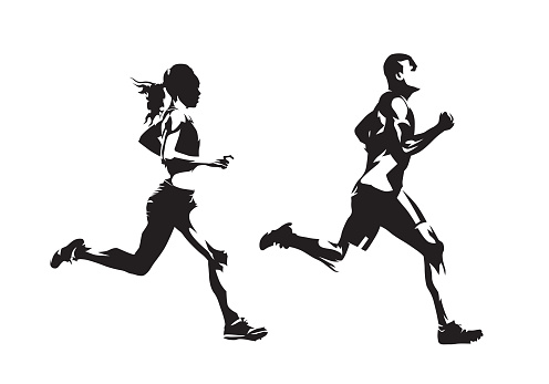 Running man and woman, ink drawings, isolated vector silhouettes. Run, side view