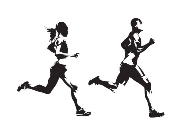 ilustrações de stock, clip art, desenhos animados e ícones de running man and woman, ink drawings, isolated vector silhouettes. run, side view - running