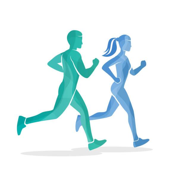 illustrations, cliparts, dessins animés et icônes de running homme et femme de silhouettes - running