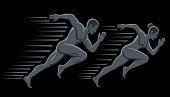 Art concept of a running man and woman.