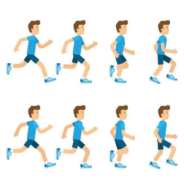 ilustrações, clipart, desenhos animados e ícones de conjunto de sprite de animação homem correndo. loop de quadro 8. ilustração em vetor estilo cartoon plano feminino. movimentando-se homem é executado em boa forma, isolada no vetor de estoque de fundo branco - personal trainer