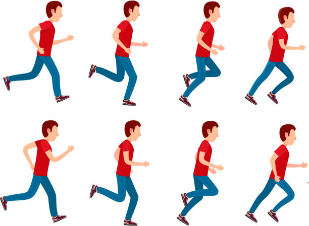 Running Man Animation Sprite Set. 8 Frame Loop. Collection of running man icons. Animation sprite set frame loop. Sport. Run. Active fitness. Exercise and athlete. Variety of sport movements. Flat cartoon style. Side view. Simple design. Vector sequential series stock illustrations