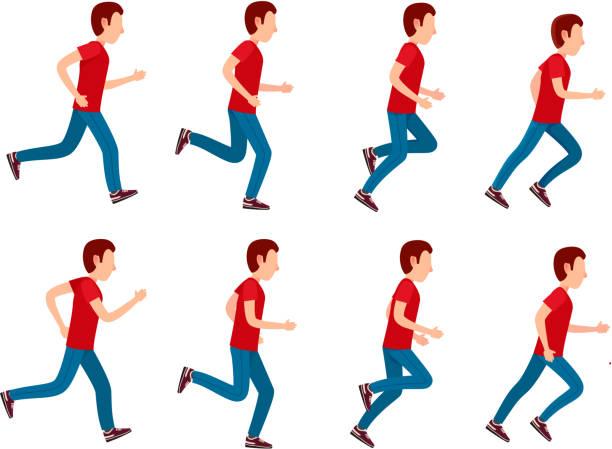 running man animation sprite set. 8 frame loop. - sekwencja obrazu stock illustrations