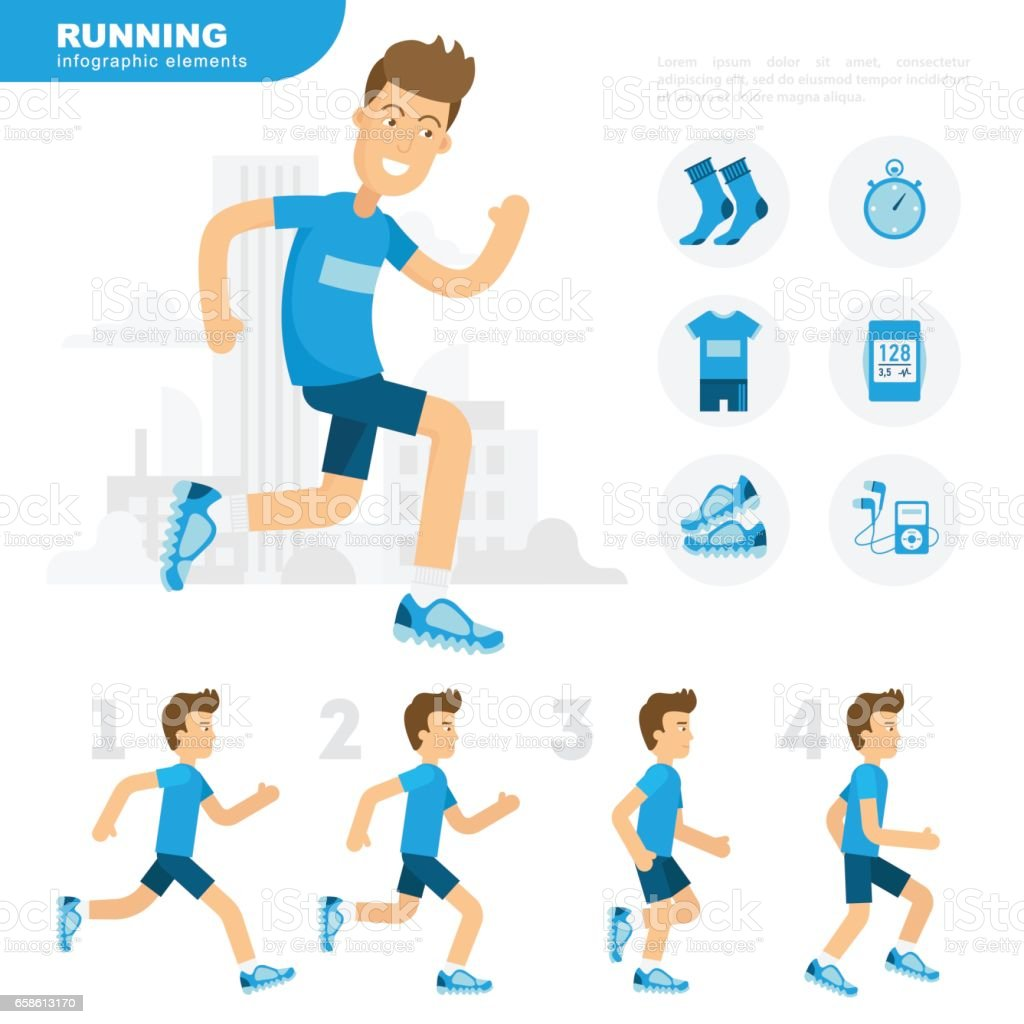 running man animation sprite set flat cartoon style vector