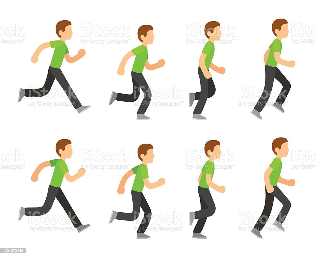 Running man animation vector art illustration