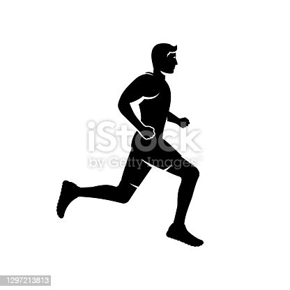 istock Running man black silhouette. Isolated on white background. 1297213813