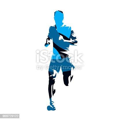 Running man, blue geometric vecor silhouette