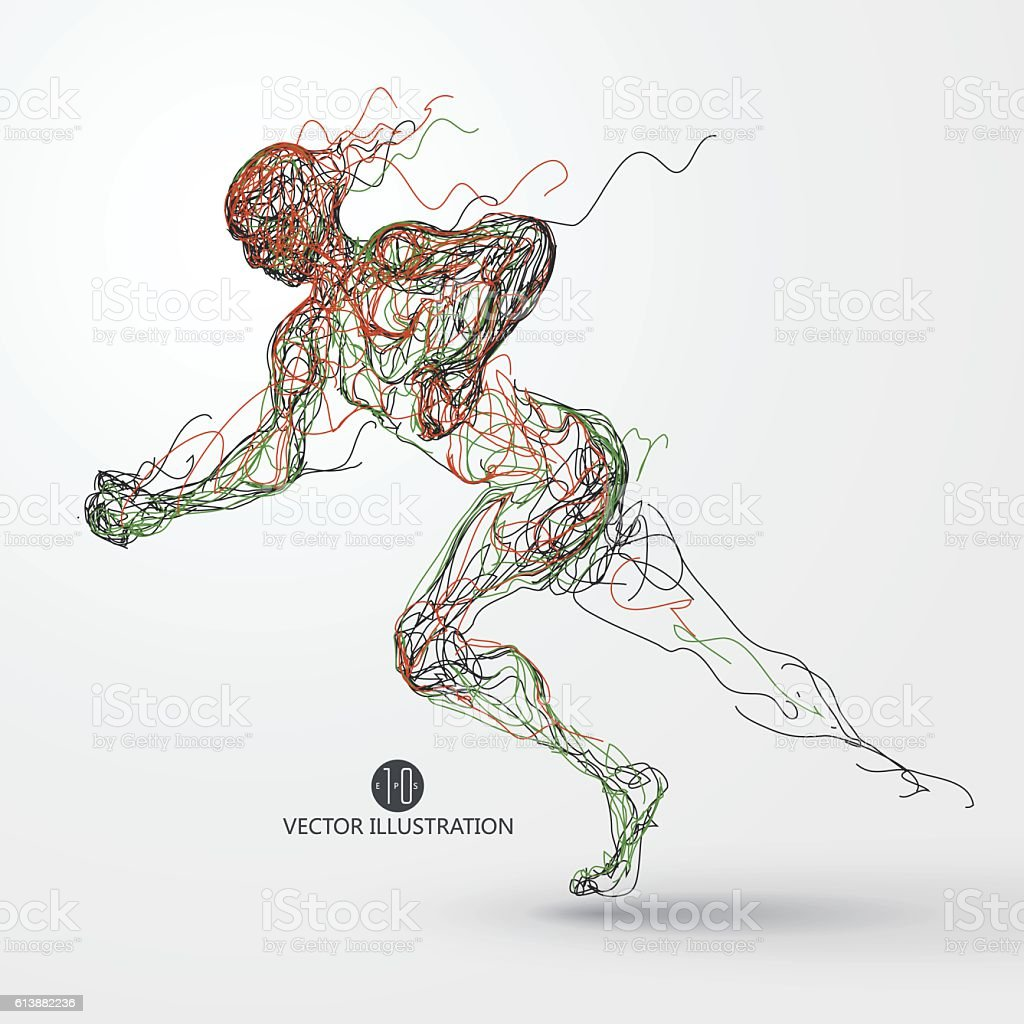 Running man, colored lines drawing, vector illustration. vector art illustration