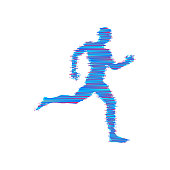 Running man. Design for sport and business. Vector illustration.