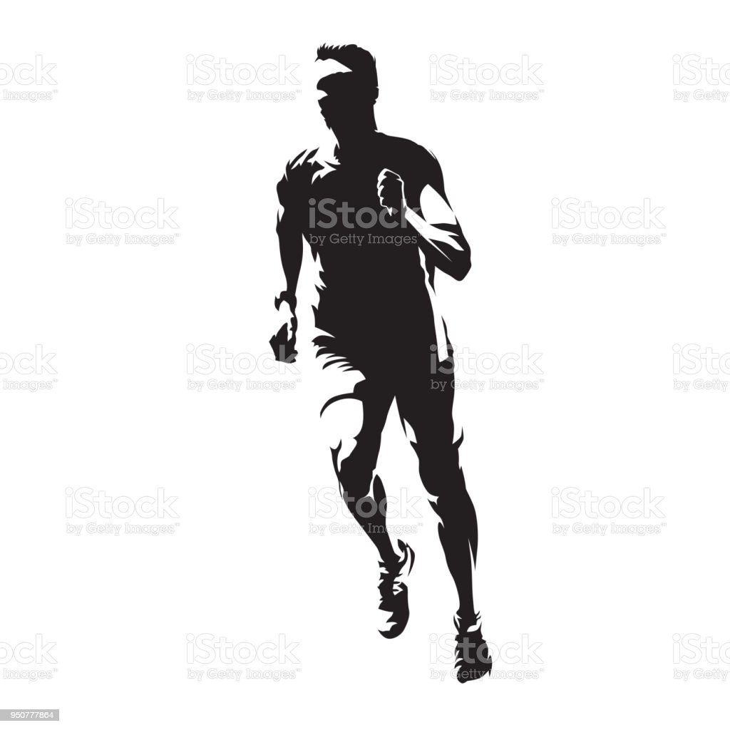 Running man, front view, healthy lifestyle,  isolated vector silhouette. Run, athletics vector art illustration