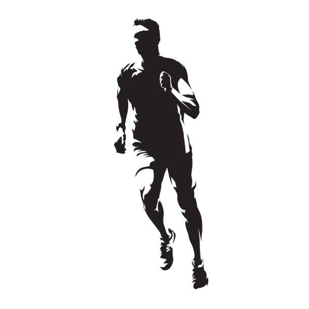 mann, vorderansicht, gesunde lebensweise, isolierte vektor silhouette ausgeführt. laufen, leichtathletik - leichtathletik stock-grafiken, -clipart, -cartoons und -symbole