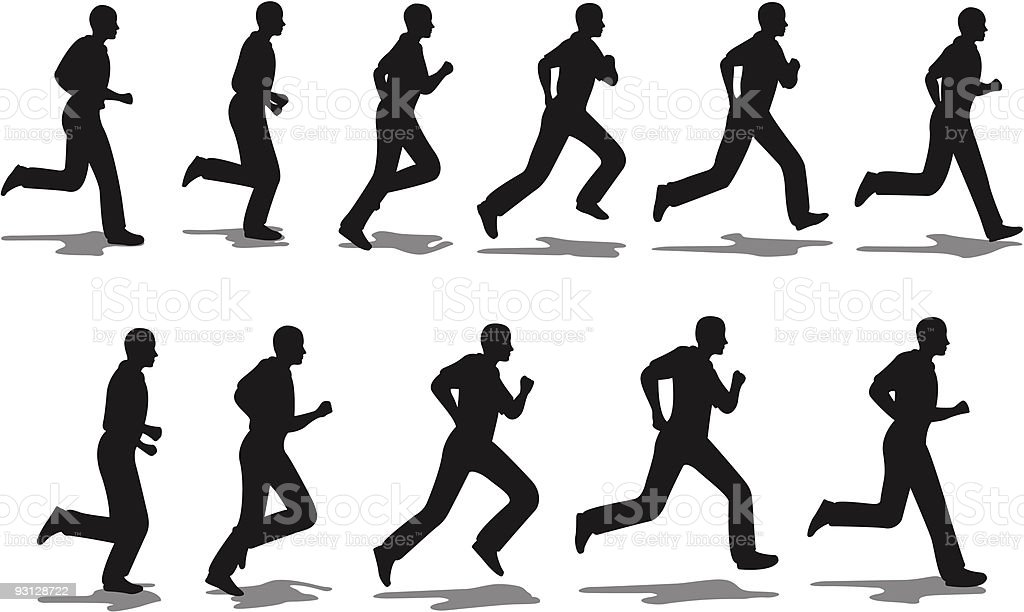Running Man Full Cycle Stock Vector Art & More Images of Adult ...