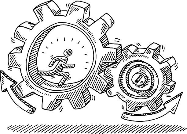 Running Man Gears Motion Drawing Hand-drawn vector drawing of a Running Man and Gears in Motion. Black-and-White sketch on a transparent background (.eps-file). Included files are EPS (v10) and Hi-Res JPG. running stock illustrations