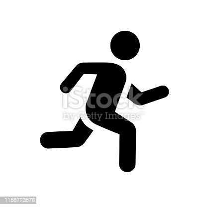 Running man icon sign illustration flat simple black color isolated vector