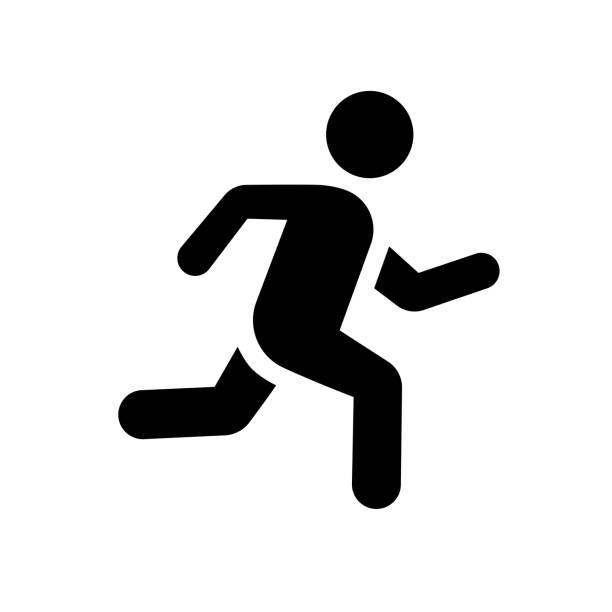 stockillustraties, clipart, cartoons en iconen met running man icon teken plat - atleet