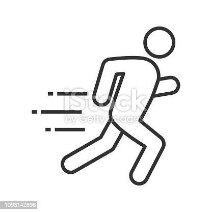 Running man linear vector icon
