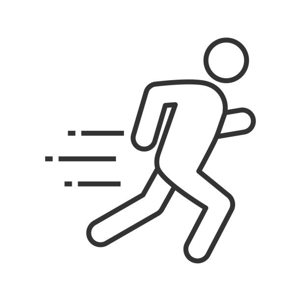 Running man icon Running man linear vector icon running stock illustrations