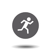 istock Running Man icon. Vector style is flat iconic symbol with rounded angles, gray color, white background. 982515488