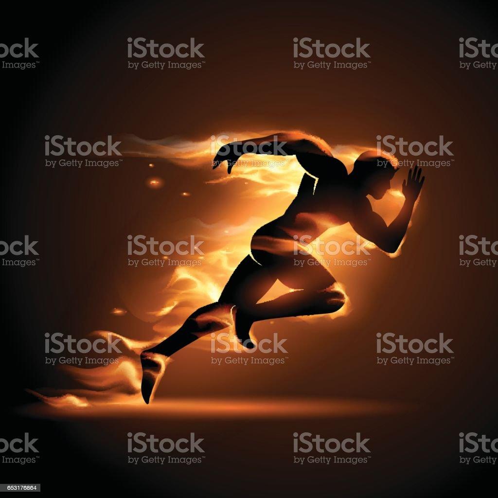 Running Man In Flame Vector Art Illustration