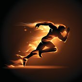 Running man in flame