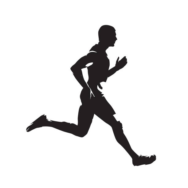 stockillustraties, clipart, cartoons en iconen met running man, geïsoleerde vector silhouet. sprinten loper - running
