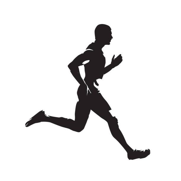 ilustrações de stock, clip art, desenhos animados e ícones de running man, isolated vector silhouette. sprinting runner - running