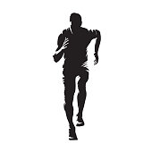 Running man, isolated vector silhouette. Sprinting young athlete. Run