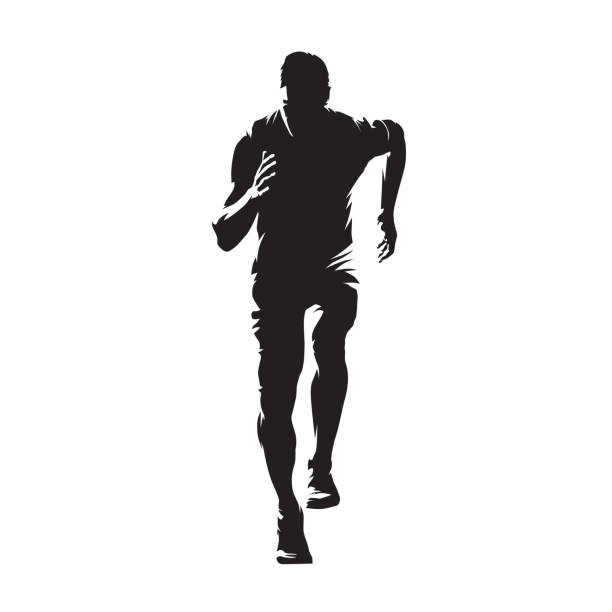 running man, isolated vector silhouette. sprinting young athlete. run - running stock illustrations