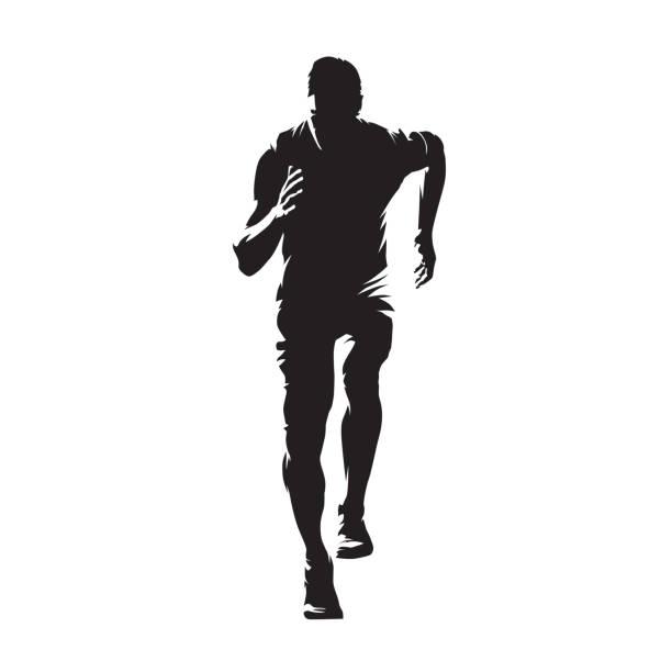 ilustrações de stock, clip art, desenhos animados e ícones de running man, isolated vector silhouette. sprinting young athlete. run - running