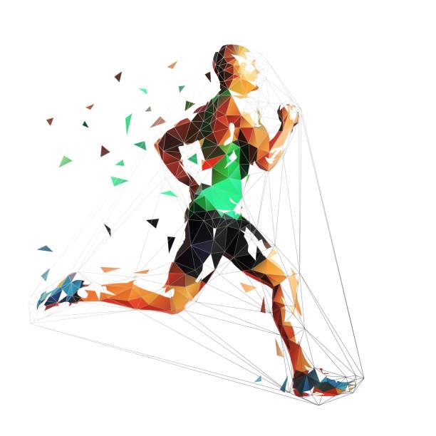 running man, low polygonal geometric vector illustration. run, sprinting athlete - running stock illustrations