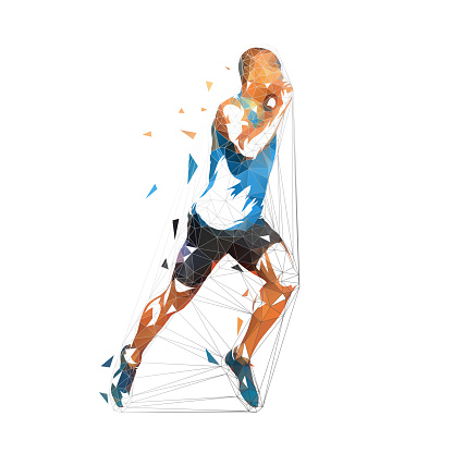 Running man, low polygonal vector illustration. Geometric runner, side view, athletics