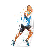 Running man, low polygonal vector illustration. Geometric runner, side view, athletics