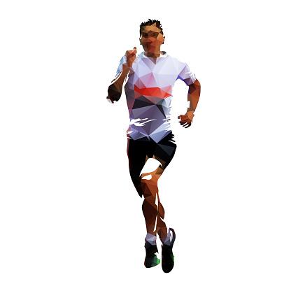 Running man, low polygonal vector illustration. Run