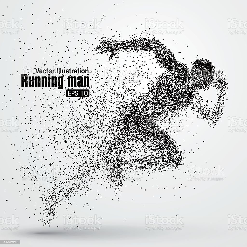 Running Man, particle divergent composition, vector illustration. ベクターアートイラスト