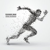 Running Man, particle divergent composition, vector illustration