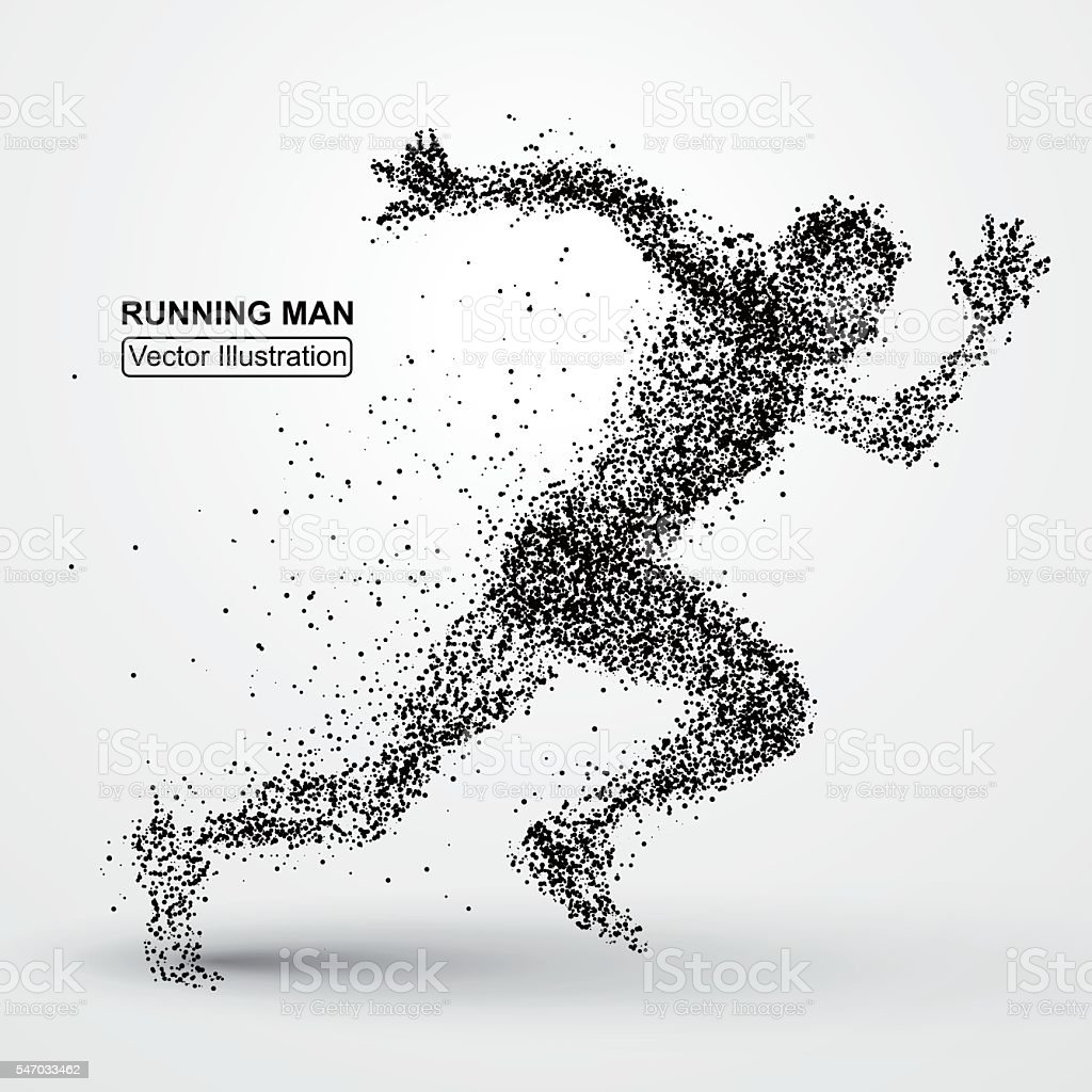 Running Man, particle divergent composition, vector illustration vector art illustration