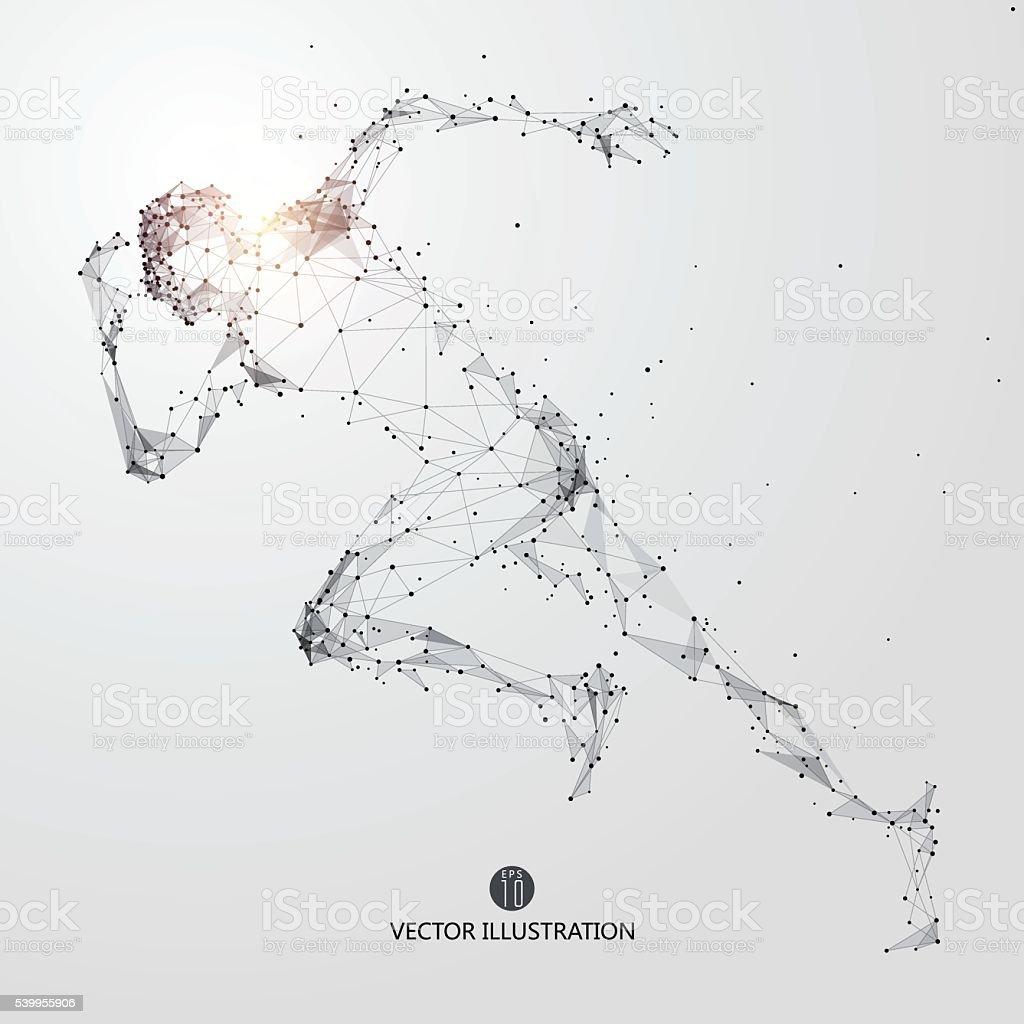 Hombre corriendo, puntos, líneas y conectado a la forma. - ilustración de arte vectorial