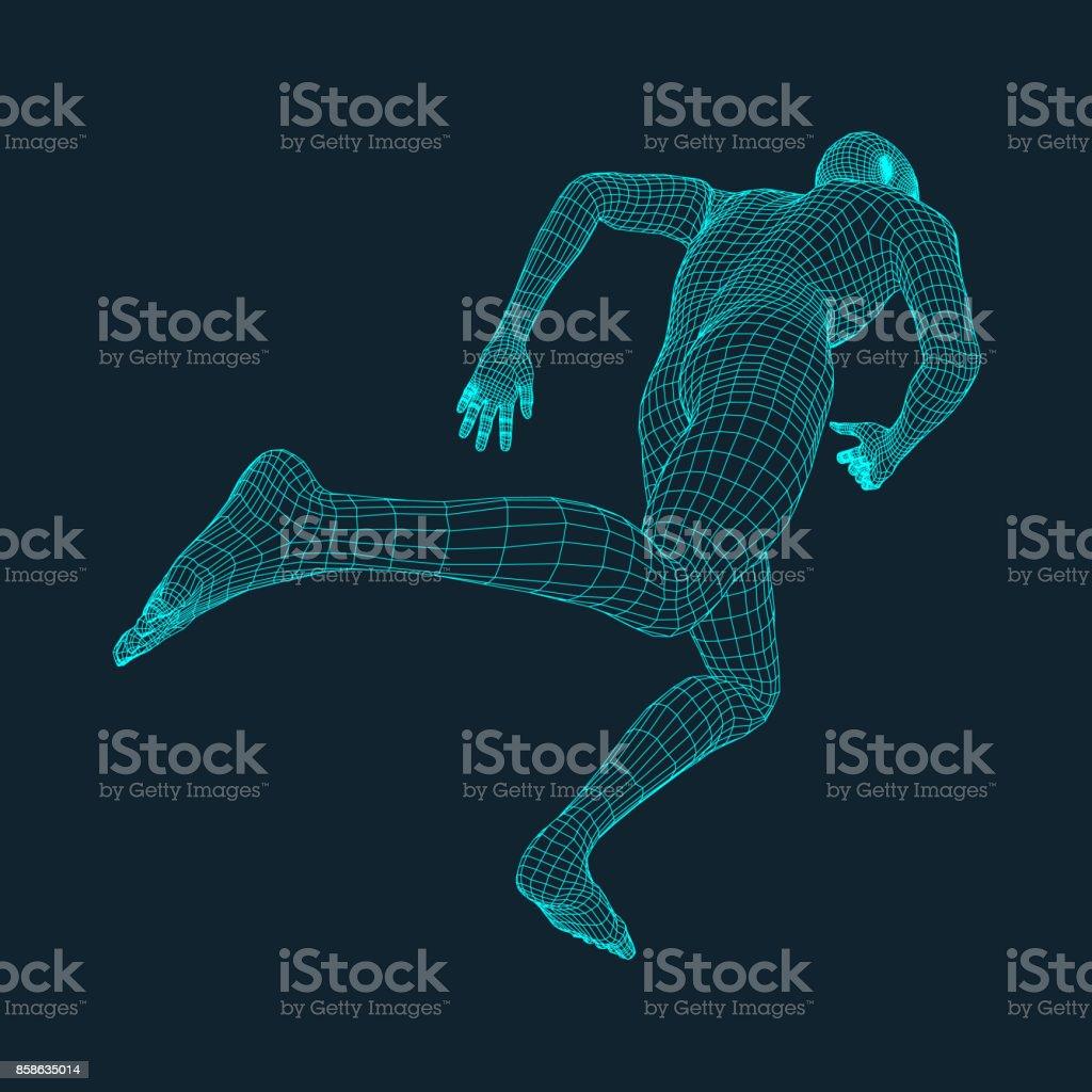 Running Man. Polygonal Design. 3D Model of Man. Geometric Design. Business, Science and Technology Vector Illustration. 3d Polygonal Covering Skin. Human Polygon Body. Human Body Wire Model. vector art illustration