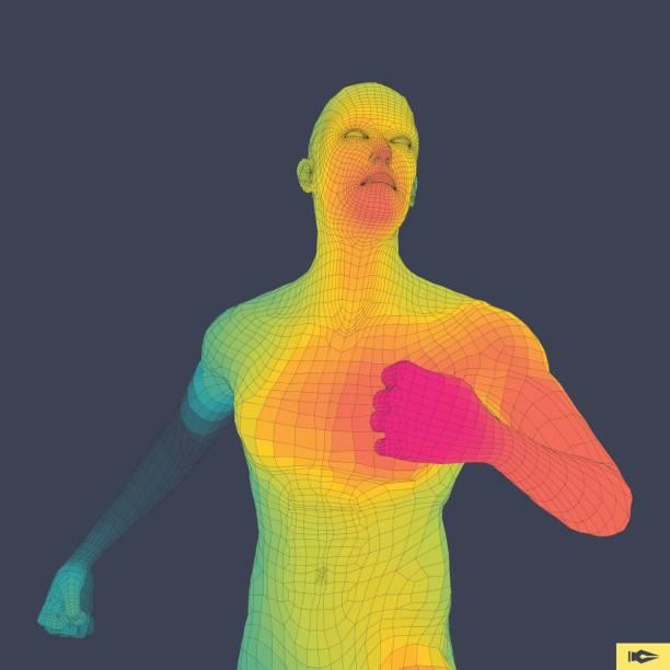 Running Man. Polygonal Design. 3D Model of Man. Geometric Design. Vector Illustration. vector art illustration