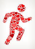 Running Man  Red Hearts Love Pattern