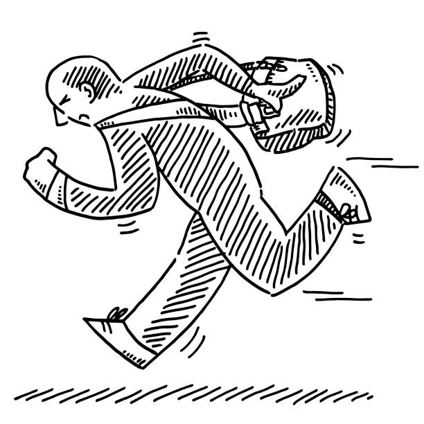 Running Man Shoulder Bag Drawing Hand-drawn vector drawing of a Running Man with a Shoulder Bag. Black-and-White sketch on a transparent background (.eps-file). Included files are EPS (v10) and Hi-Res JPG. running stock illustrations