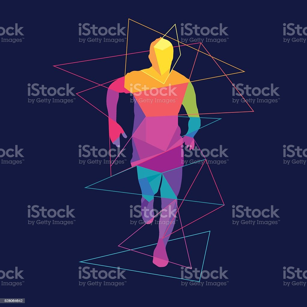 Running man silhouette logo template vector art illustration