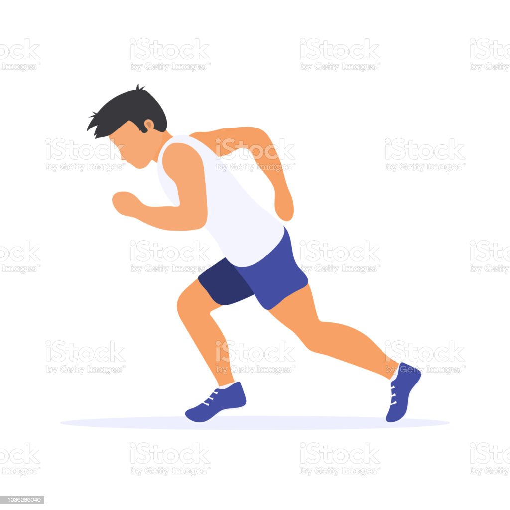 Running man silhouette. Runner. Flat vector illustration. Individual sport. vector art illustration