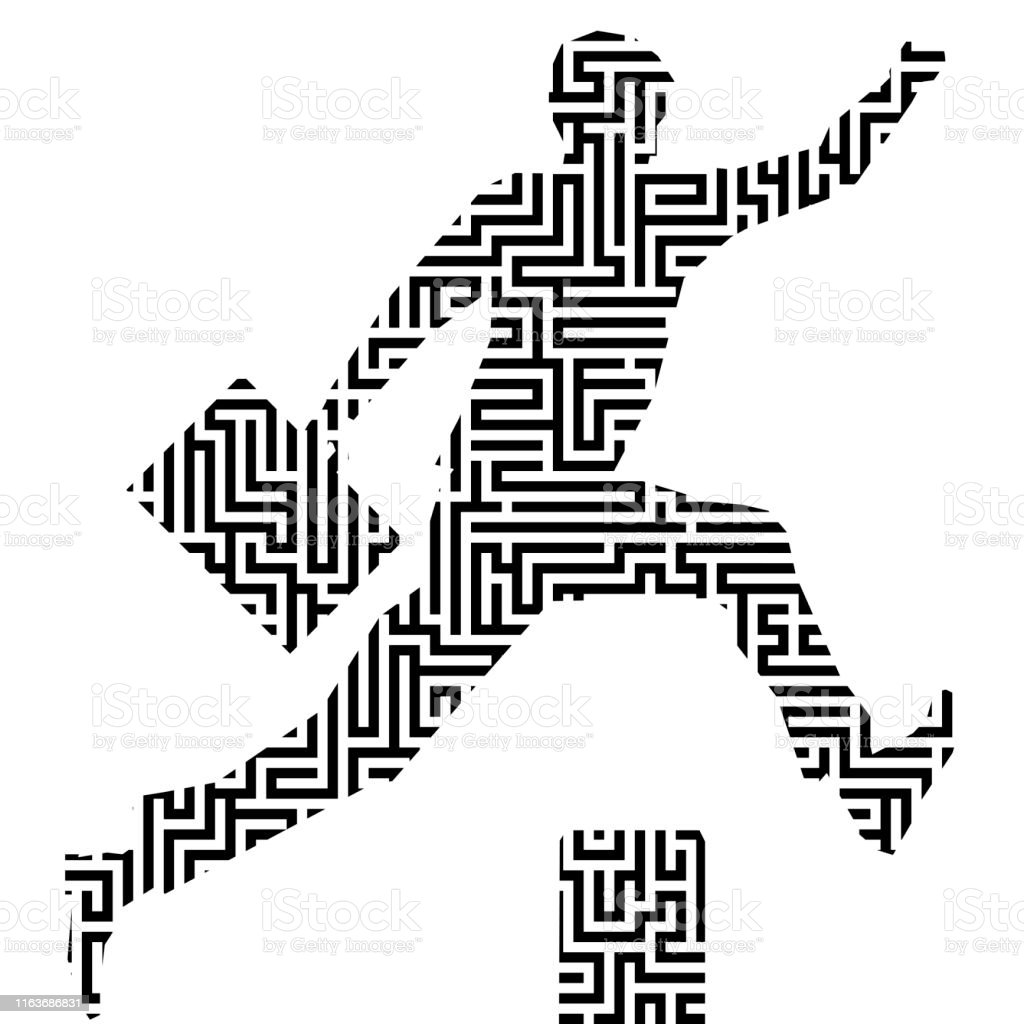 Running Man Silhouette With Maze Or Labyrinth Texture